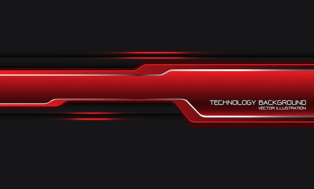 Línea de plata de etiqueta cibernética roja abstracta sobre fondo futurista de tecnología moderna de diseño gris.