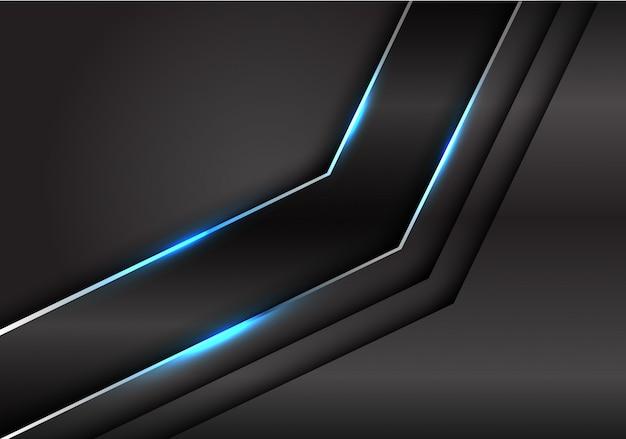 Línea de plata negra metalizada azul luz flecha fondo oscuro.