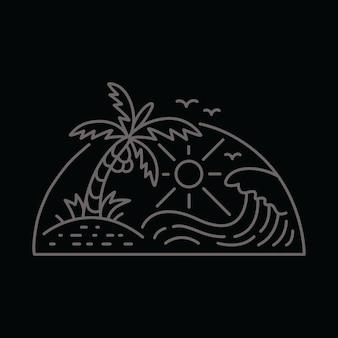 Línea playa verano gráfico ilustración