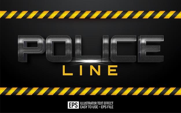 Línea de policía de texto de tres dimensiones, plantilla de efecto de estilo editable