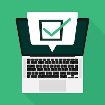 Línea portátil de encuesta en estilo plano en verde