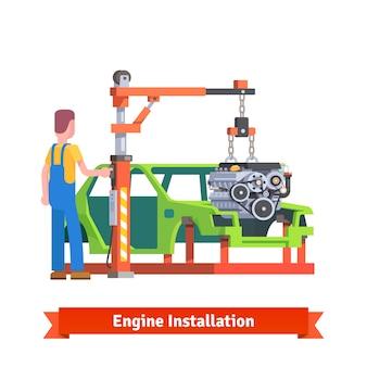 Línea de producción de coches o taller de reparación