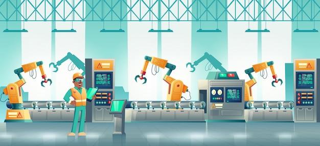Línea de producción robotizada de fábrica de dibujos animados.