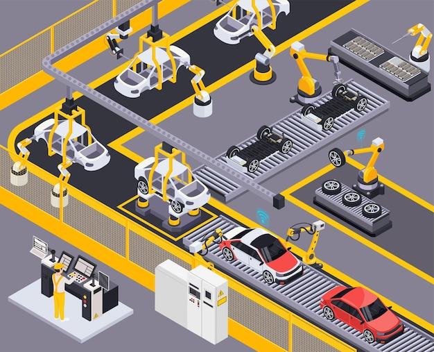 Línea de producción de vehículos eléctricos, ensamblaje robótico a control remoto y pintura, elemento del sistema transportador, ilustración isométrica