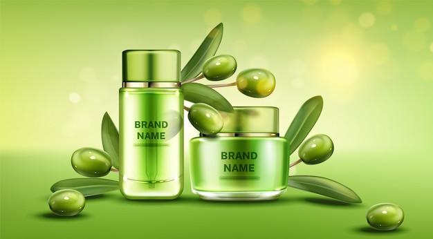 Línea de productos de belleza natural de botellas de cosméticos de oliva