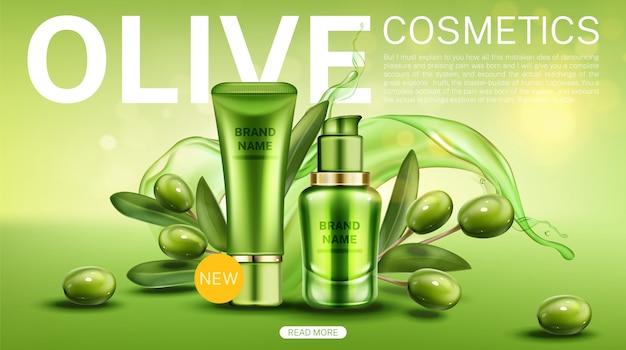 Línea de productos de belleza natural de botellas de olivo