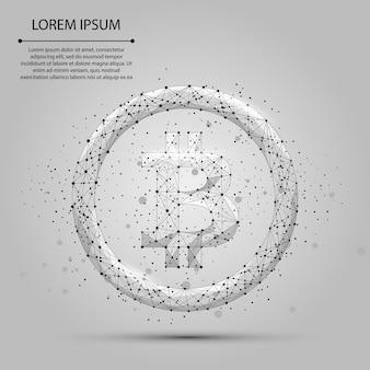 Línea de puré abstracta y punto bitcoin. ilustracion de negocios moneda poligonal baja poli