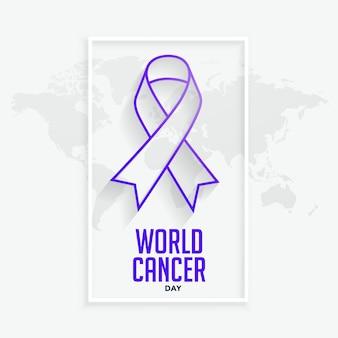 Línea púrpura ribbconcept para el día mundial del cáncer