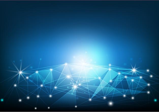Línea de red en la tierra, comunicación tecnológica y concepto de conexión global a internet