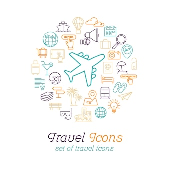 Línea redonda concepto de iconos de viaje para viajar y turismo