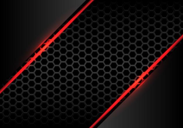 Línea roja luz de fuego con fondo gris de malla metallichexagon.