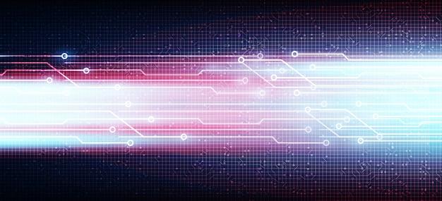 Línea de tecnología de velocidad violeta sobre fondo de microchip de circuito