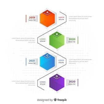 Línea temporal infográfica colorida diseño plano