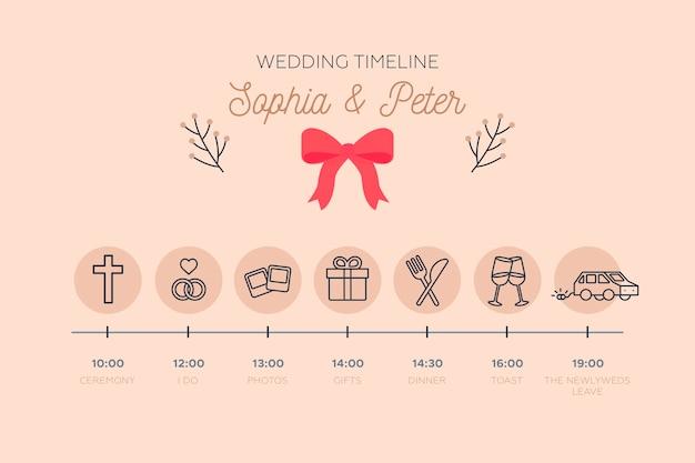 Línea de tiempo de boda delicada en estilo lineal