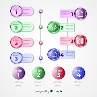 Línea de tiempo brillante infografía realista