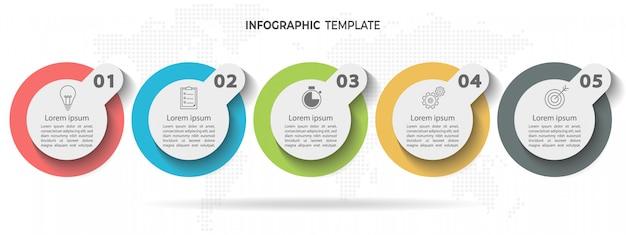 Línea de tiempo círculo infografía plantilla 5 opciones o pasos.