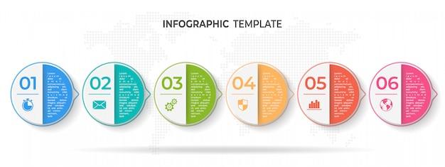 Línea de tiempo círculo infografía plantilla 6 opciones o pasos.
