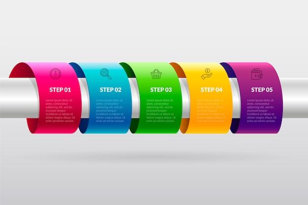 Línea de tiempo colorida infografía en gradiente