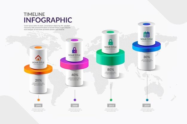 Línea de tiempo colorida infografía