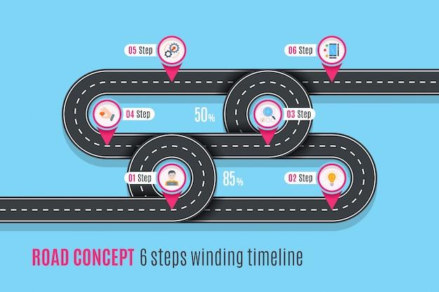 Línea de tiempo del concepto de carretera, gráfico infográfico, estilo plano