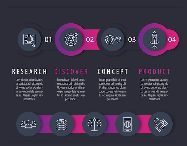 Línea de tiempo de desarrollo de productos, elementos infográficos, etiquetas de pasos con iconos para informes comerciales