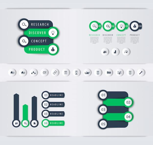 Línea de tiempo de desarrollo de productos, etiquetas de pasos, gráficos, plantilla de infografías comerciales,
