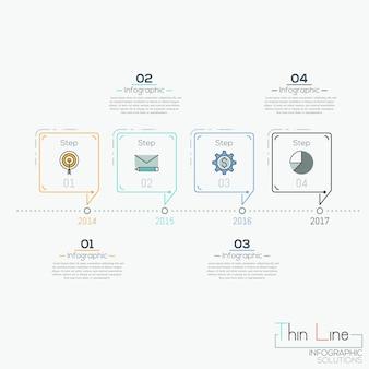 Línea de tiempo horizontal con 4 elementos en forma de burbujas de diálogo y cuadros de texto