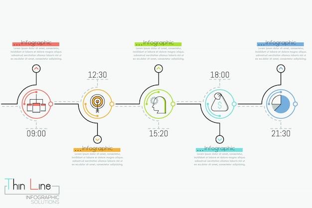 Línea de tiempo horizontal con 5 elementos redondos, indicación de tiempo, pictogramas y cuadros de texto,