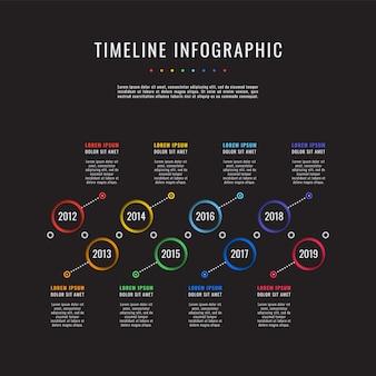 Línea de tiempo horizontal con ocho elementos redondos, indicación de año y cuadros de texto