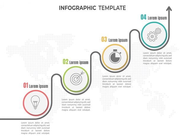 Línea de tiempo de infografía 4 pasos u opciones.