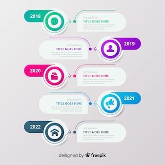 Línea de tiempo infografía con burbujas