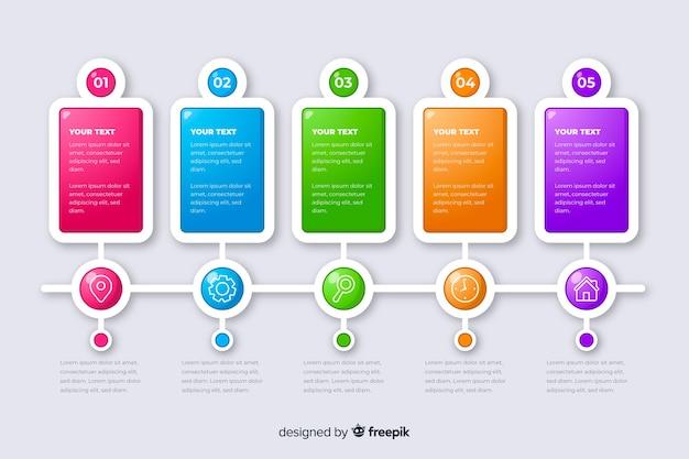 Línea de tiempo de infografía con colección de pasos