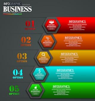 Línea de tiempo infografía datos visualización diseño plantilla concepto de negocio con 5 opciones