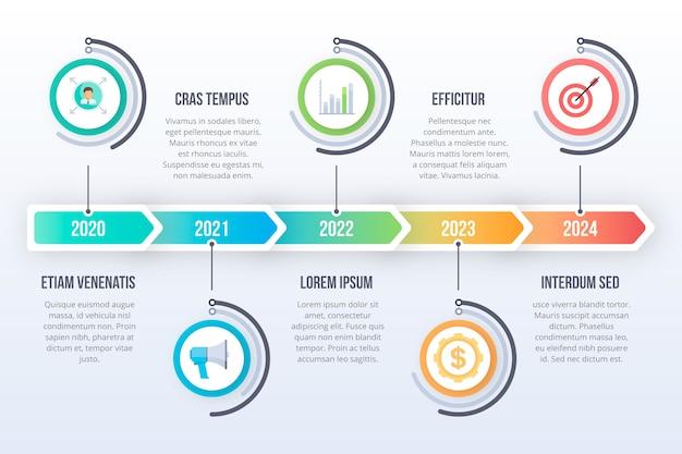 Línea de tiempo de infografía con detalles coloridos