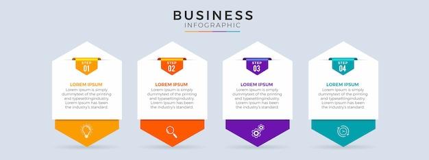 Línea de tiempo de infografía con diseño plano de 4 pasos.