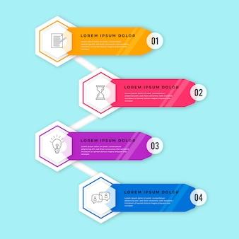 Línea de tiempo de infografía en diseño plano