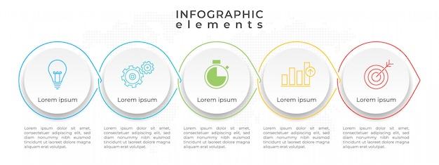 Línea de tiempo infografía plantilla 4 círculos opcional, estilo moderno.