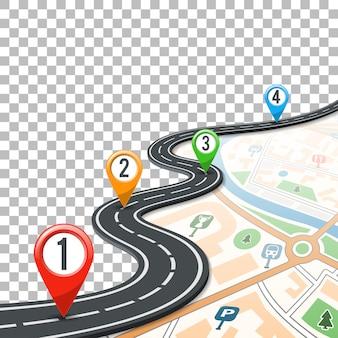 Línea de tiempo de infografías de carretera con punteros pin