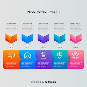 Línea de tiempo infográfica gradiente