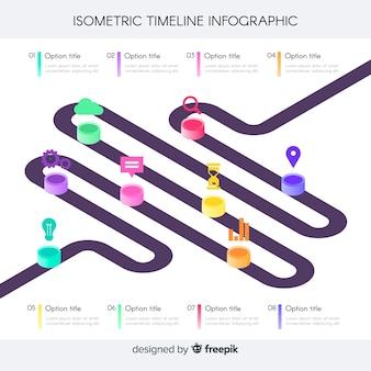 Línea de tiempo infográfica isométrica