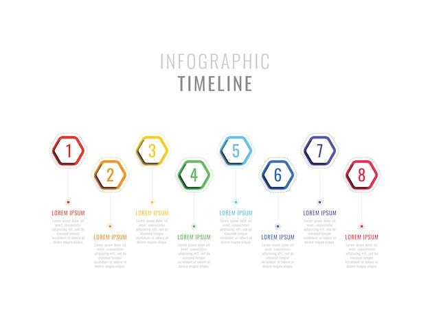 Línea de tiempo infográfica de ocho pasos con elementos hexagonales