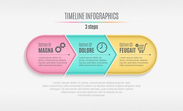 Línea de tiempo infográfica de tres pasos, presentación, informe, desin web