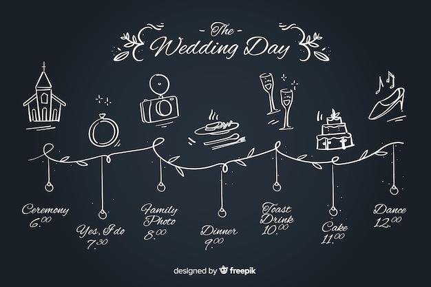 Línea de tiempo linda boda dibujada a mano