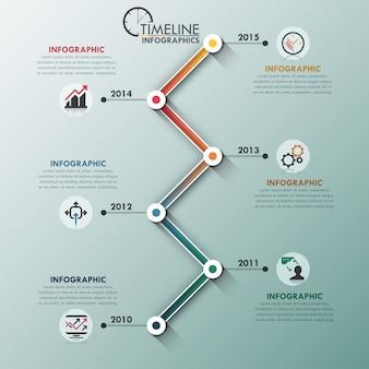 Línea de tiempo lineal infografía moderna