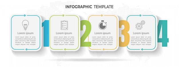 Línea de tiempo mínima infografía plantilla 4 opciones o pasos.