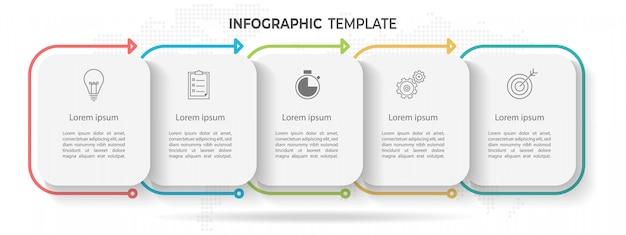 Línea de tiempo mínima infografía plantilla 5 opciones o pasos.