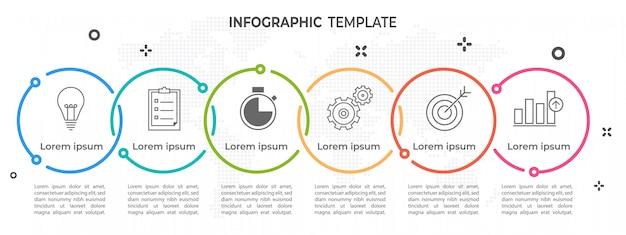 Línea de tiempo moderna círculo infografía 6 opciones.