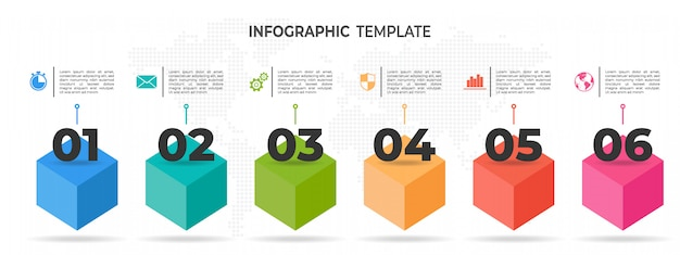 Línea de tiempo moderna infografía 6 opciones