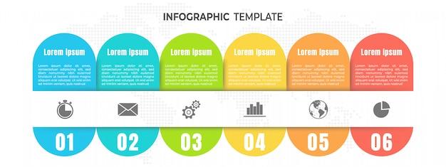 Línea de tiempo moderna infografía 6 pasos u opciones.