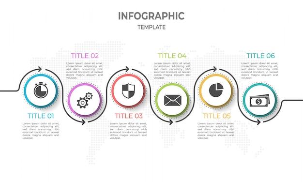 Línea de tiempo moderna infografía con círculo 6 opciones.